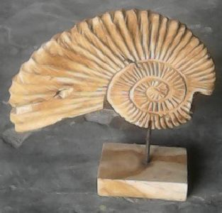 Teak shell on stand 44 cm