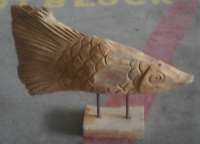 Teak fish on stand 45 cm
