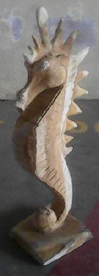 Teak seahorse 70 cm